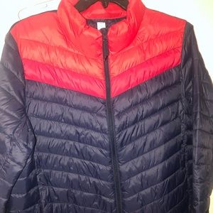 Old Navy red and blue puffer jacket- 70s style